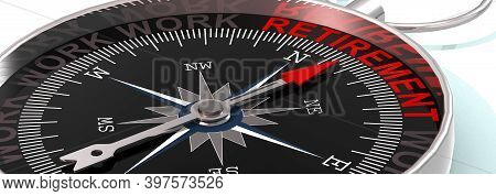 Compass Needle Pointing To Word Retirement, 3d Rendering