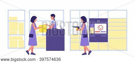 Methods For Issuing Ordered Goods. The Postman Issues The Package To The Customer. A Girl A Buyer In