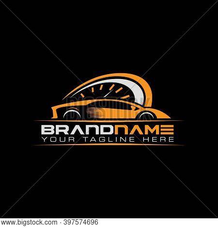 Sport Car With Tachometer Logo. Auto Performance Logo