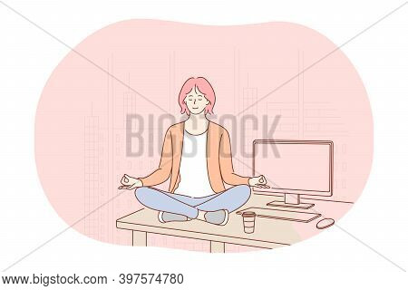 Yoga, Meditation, Healthy Active Lifestyle Concept. Young Smiling Woman Worker Sitting In Lotus Posi