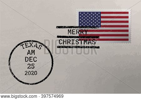 Postage Envelope With Us Flag On Postage Stamp And Cancellation Stamps, Vector