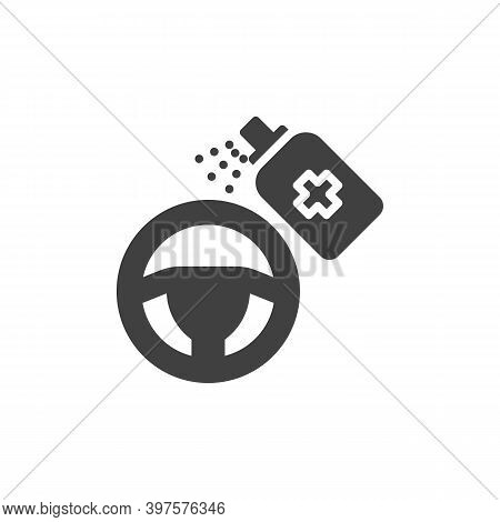 Steering Wheel Disinfecting Vector Icon. Filled Flat Sign For Mobile Concept And Web Design. Sanitiz