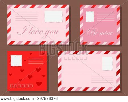 A Set Of Love Letters In Envelopes. Colorful Envelopes For Letters To Your Loved One. Valentines Day