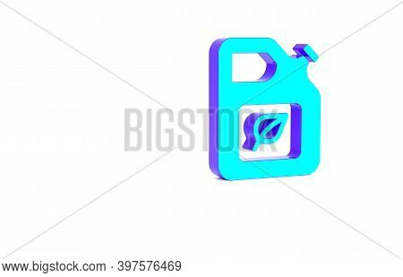 Turquoise Bio Fuel Canister Icon Isolated On White Background. Eco Bio And Barrel. Green Environment