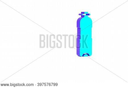 Turquoise Bottle Of Water Icon Isolated On White Background. Soda Aqua Drink Sign. Minimalism Concep