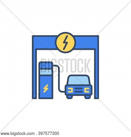 Ev Charging At Electric Recharging Point Vector Concept Colored Icon Or Logo Element