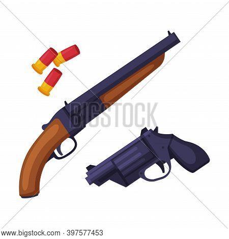 Weapon Set, Shotgun, Gun And Bullets, Hunting Tackles And Equipment Flat Style Vector Illustration