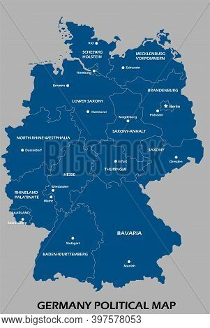 Germany Political Map Divide By State Colorful Outline Simplicity Style. Vector Illustration.
