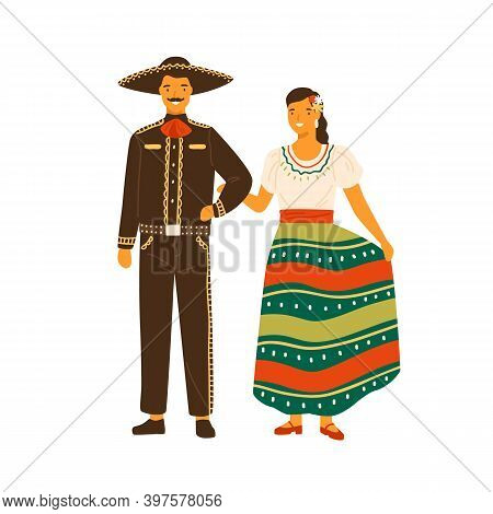 Mexican Woman And Man Wearing Traditional Costumes. Male Person In National Hispanic Suit And Sombre