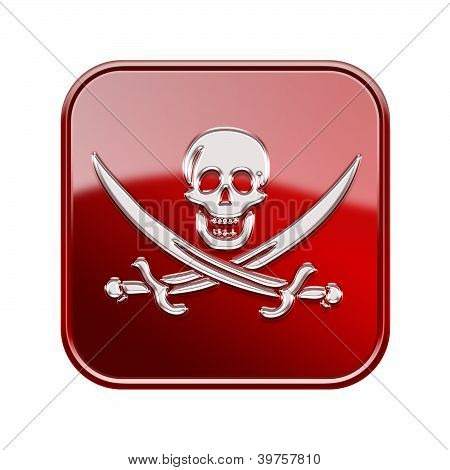 Pirate Icon Glossy Red, Isolated On White Backround