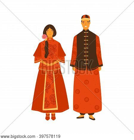 Asian Couple Wearing Traditional Chinese Costumes. Female Character In Decorated National Dress. Mal