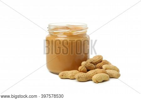 Peanut And Jar With Peanut Butter Isolated On White Background