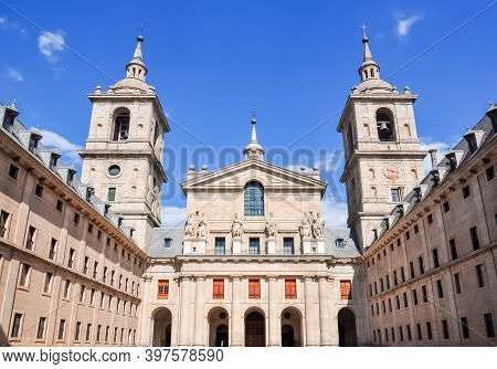 El Escorial Palace Facade Outside Madrid, Spain