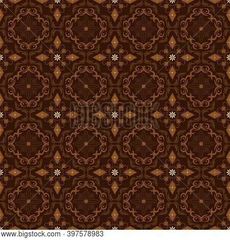 Elegant Circle Patterns On Solo Batik With Modern Dark Brown Color Design.