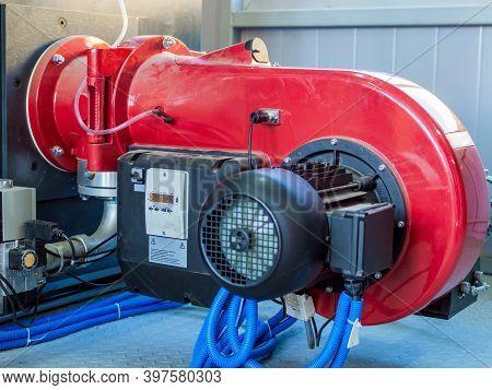 Modern Boiler Room Equipment- High Power Boiler Burner. Boiler Room. Water Heating. Power Supply. Wa