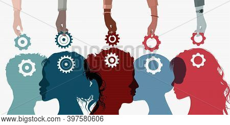 Concept Acquire Assistance. Learning Course. Building Business. Coach Hands Holding A Gear And Putti