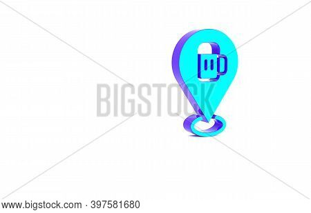 Turquoise Alcohol Or Beer Bar Location Icon Isolated On White Background. Symbol Of Drinking, Pub, C