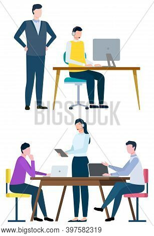 Boss Supervising Working Process Of Worker Sitting By Laptop Vector, Flat Style Characters At Work.