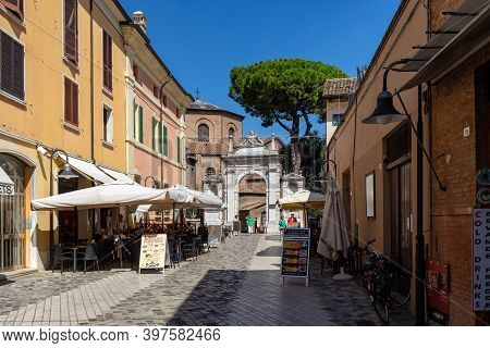 Ravenna, Italy - Sept 11, 2019: Entrance To 6th Century Basilica Di San Vitale And The Mausoleum Of
