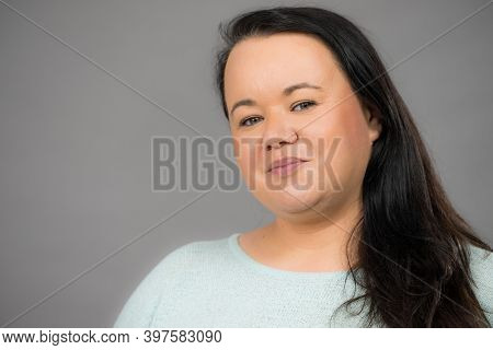 Adult Plus Size Woman, Mature Famale Round Face, Long Dark Hair.