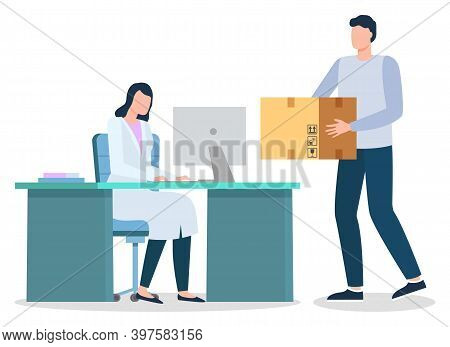 Doctor Sitting In Cabinet At Hospital. Courier Carry Carton Box To Deliver To Receiver. Shipment And