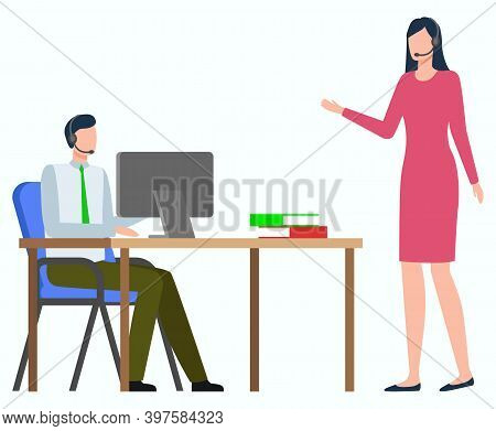 Workers Discussing Work, Man Communication With Monitor Of Computer, Woman Standing. Employees Strat