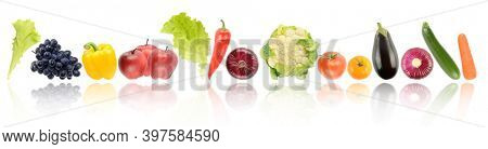 Panorama ripe and fresh fruits and vegetables with light reflection isolated on white background.