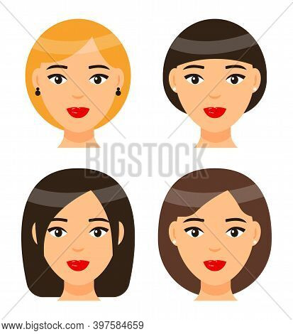 Set Of Women Types Of Haircuts Or Hairstyles. Brunette Girl With Short Hair And Forelock. Brown-hair