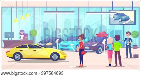 Car Center, Woman Customer Buyer Choosing Automobile In Car Store, Clients Talking With Manager, Ask