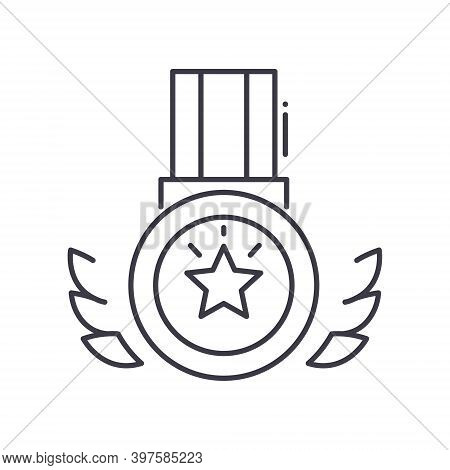 Medal Of Glory Icon, Linear Isolated Illustration, Thin Line Vector, Web Design Sign, Outline Concep