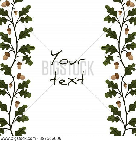 Vertical Foliate Borders With Oak Leaves And Acorns For Greeting Cards, Invitations, Wedding Cards,