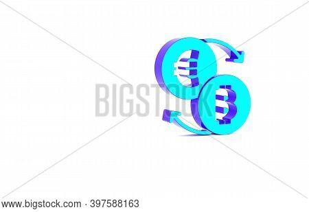 Turquoise Cryptocurrency Exchange Icon Isolated On White Background. Bitcoin To Euro Exchange Icon.