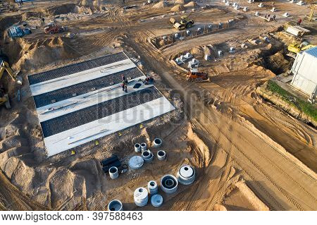 Preparatory Work On The Construction Site For The Construction Of An Industrial Building