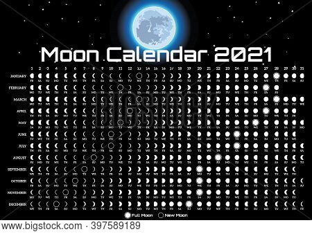 Lunar Calendar With Moon And Stars. Template For Design. Vector Illustration. Black Background. Post