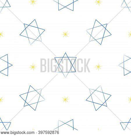 Judaic Symbol Star Of David Seamless Pattern. Israeli Religion Judaism. Hand Drawn Background For Wr