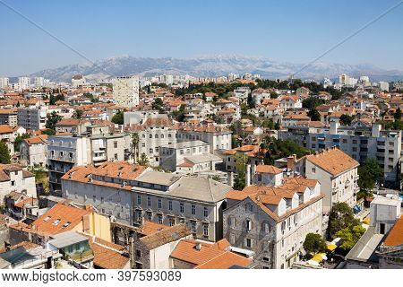 Split, Croatia - August 24, 2012: Split City In Croatia, View From Above. Split Is Situated In The M
