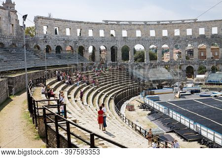 Pula, Croatia - September 4, 2012: The Interior Of The Roman Amphitheatre In Pula. Pula Is A City On