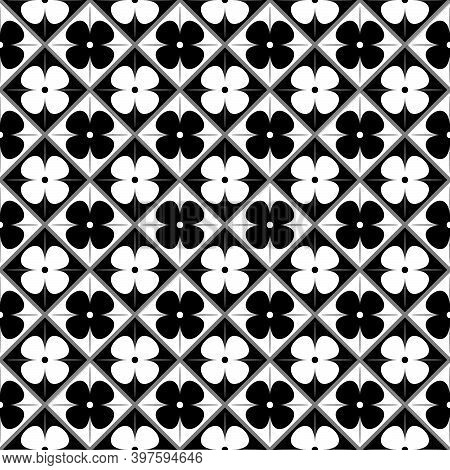 Geometric Black And White Floral Design, Spanish Tiles Design, Moroccan Tiles Seamless Vector Patter