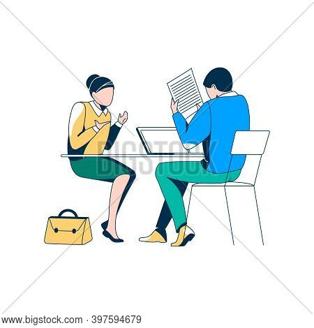Business Interview Or Meeting. Man Hr Manager Interviewing Woman Job Seeker. Boss Sitting At Desk Ta