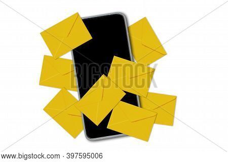 Mobile Phone With Envelopes On White Background - Concept Of Mailing And Spamming
