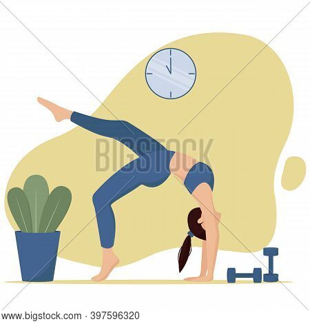 Morning Home Gymnastics . Vector Illustration In Flat Style
