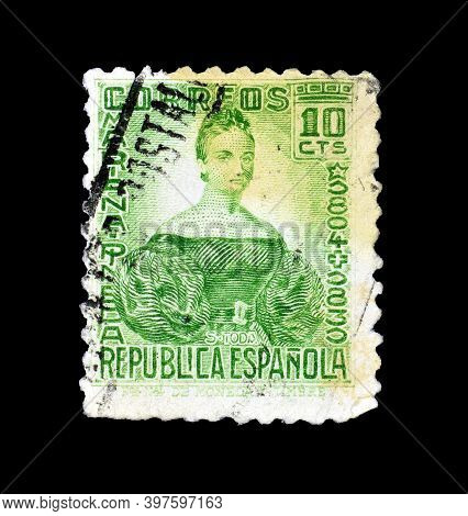 Spain - Circa. : Cancelled Postage Stamp Printed By Spain That Shows Marina Pineda, Circa 1936.