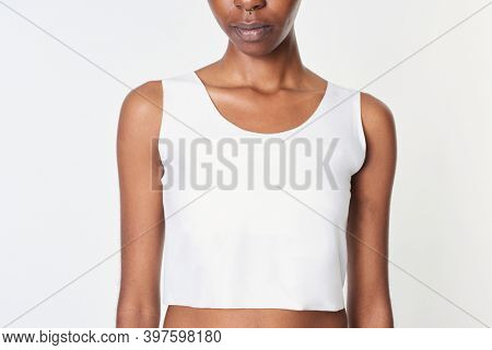 Black woman in a white cropped top mockup