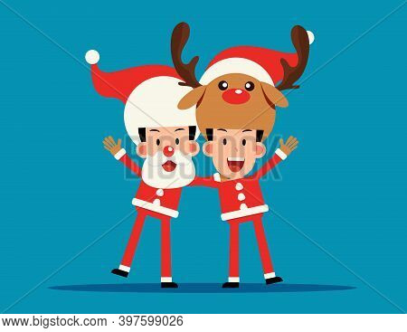 Christmas Costume. Santa Claus And Reindeer Arm Over Shoulder.
