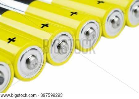 Macro Shot Battery. Alkaline Battery Isolated On White Background With Clipping Path. New Alkaline A