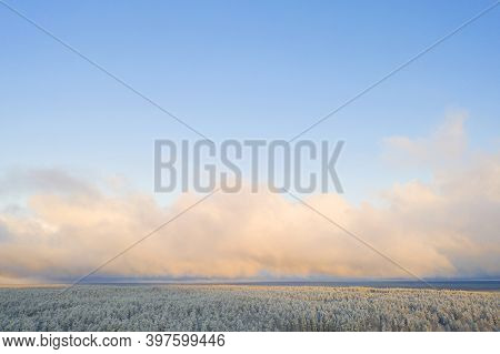 Aerial View Of A Winter Snow Covered Pine Forest. Winter Forest Texture. Winter Landscape With Cloud
