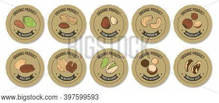 Packaging Label For Nuts. Vector Set Of Round Stickers. Craft Paper, Sketch Colored Illustrations Of
