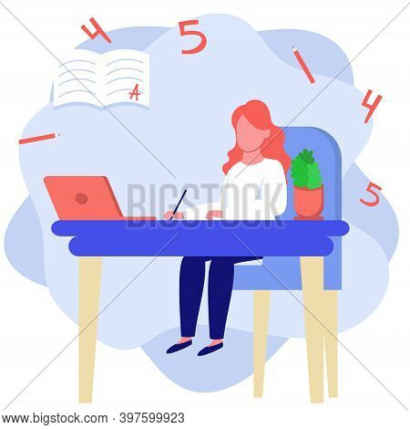 Little Girl In New Normal Life Learns Lessons Distance Education At Home Self Learning. Vector Flat