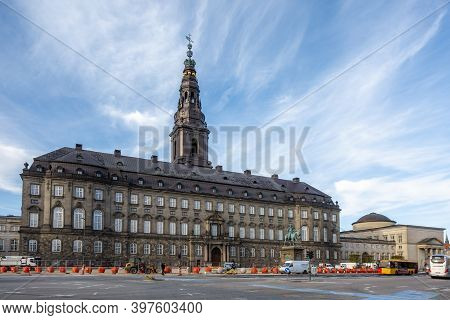 Copenhagen, Denmark - Oct 19, 2018: Christiansborg Palace And Tower. Statue Of Frederik Vii At The F