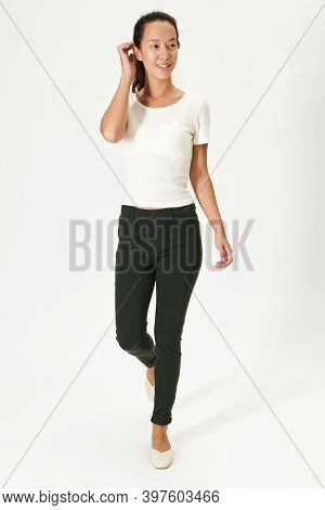 Women's white tee mockup round neck
